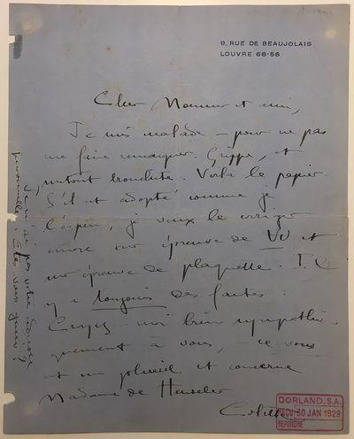 Paris, 1929. unbound. good. 1 page, 10.25 x 8 inches, 9 Rue de Beaujolais, Louvre, Paris, January 30...