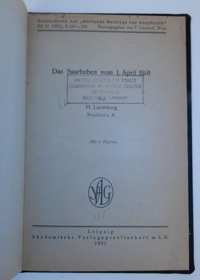 Leipzig: Akademische Verlagsgesellschaft m. b H., 1931. First Separate Edition. Cloth. Very Good. Fi...