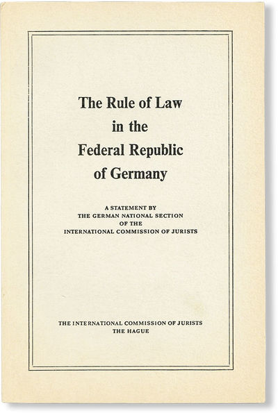 The Hague: International Commission of Jurists, . First Edition. Slim octavo (23cm.); publisher's gr...