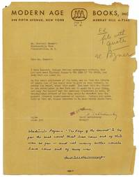 """Autograph Note signed (""""Dashiell Hammett """") at the foot of a TLS from David Sablodowsky (publisher) to Hammett, soliciting a comment on Vladimir Pozner's novel, THE EDGE OF THE SWORD"""