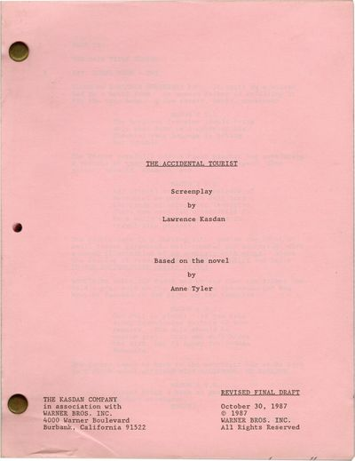 Burbank, CA: Warner Brothers, 1987. Revised Final Draft script for the 1988 film, based on the 1985 ...