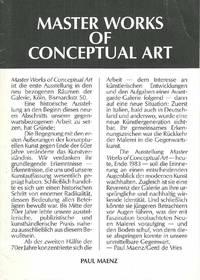 Master Works of Conceptual Art (8 October-12 November 1983)