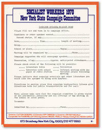 Socialist Workers 1970 / New York State Campaign Committee / Campaign Speaker Request Form