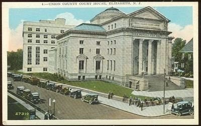 POSTCARD OF THE UNION COUNTY COURT HOUSE, ELIZABETH, NEW JERSEY, Postcard