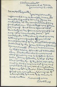 image of Robert Frost writing to Mr. Paquette, Autograph Letter Signed with photograph of Frost