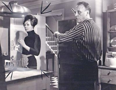 N.p.: Estree Distributors, 1963. Vintage borderless photograph of Sarah Miles and Joseph Losey on th...