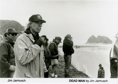 N.p.: N.p., 1994. Vintage borderless black-and-white matte reference photograph of director Jim Jarm...