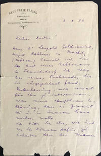 "Autograph Letter Signed, Voicing His Support for a Zionist Rabbi, Written the Year He Published ""Der Judenstaat"""