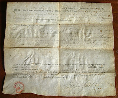 Richmond (?) Virginia, 1787. Unbound. Very good. Document printed on vellum and completed in manuscr...