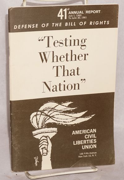 New York: American Civil Liberties Union, 1961. Pamphlet. 80p., wraps, neatly ex library (two intern...
