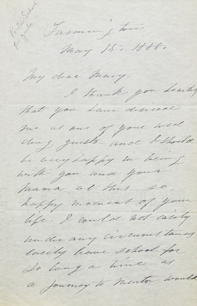 autograph letter signed by sarah porter regretfully declining a wedding invitation due to pressing concerns at her school