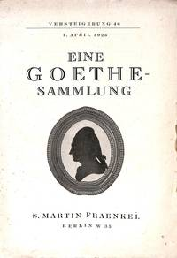 Sale 1 April 1925: Eine Goethe-Sammlung.