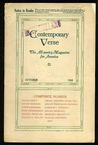 Contemporary Verse: October 1918 by  editor  Charles Wharton - Paperback - 1918 - from Between the Covers- Rare Books, Inc. ABAA (SKU: 74137)
