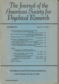 image of THE JOURNAL OF THE AMERICAN SOCIETY FOR PSYCHICAL RESEARCH. Volume 66, Number 4. October 1972.