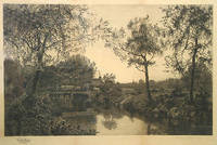 Etching: Pastoral scene with cattle crossing a bridge, with village and church spire in the background