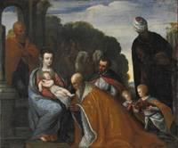 Adoration of the Magi / Adorazione dei Magi (Oil on Canvas, circa 1600) by Venetian school / Scula Venetia - 1600 - from Louis Caron and Biblio.com