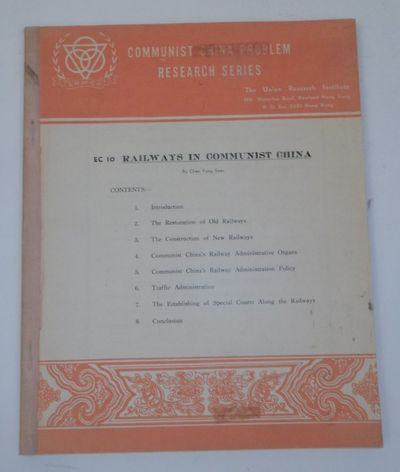 Hong Kong: Union Research Institute, 1956. Wraps. Good. , 101, 3, pages plus folding map. 8 x 10 inc...