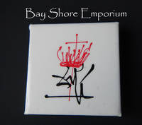 Dali Hat Lapel Pin, Square, White with Black and Red