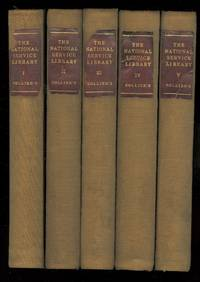 image of NATIONAL SERVICE LIBRARY.  5 VOLUME SET.  ONE: UNIVERSAL MILITARY TRAINING.  TWO: MILITARY STRENGTH AND RESOURCES OF THE UNITED STATES.  THREE: PRINCIPLES OF MILITARY TRAINING.  FOUR: RUDIMENTS OF DRILL MOBILE ARMY TROOPS.  FIVE: WARFARE OF THE FUTURE.