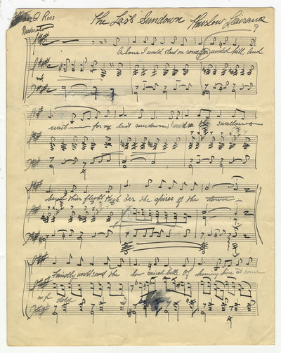 Folio (342 x 273 mm). Unbound. (autograph title], - (autograph music and text). 33 measures. Notated...