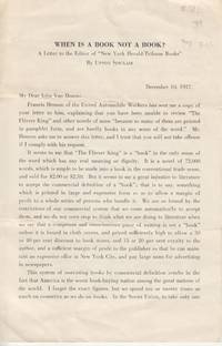 """When is a Book Not a Book? A Letter to the Editor of the """"New York Herald  Tribune Books"""" by  Upton Sinclair - Paperback - First Edition; First Printing - 1937 - from Beasley Books (SKU: 30442)"""
