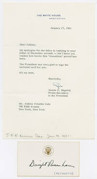 [CARD, AUTOGRAPHED BY DWIGHT D. EISENHOWER, WITH ACCOMPANYING LETTER FROM HIS SECRETARY]