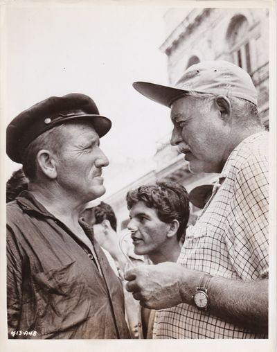 N.p.: Leland Hayward Productions, 1958. Vintage photograph of Ernest Hemingway and Spencer Tracy on ...