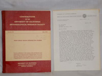 An important letter on Univ. of Calif. Anthropology Research Letterhead about the petroglyph sites s...