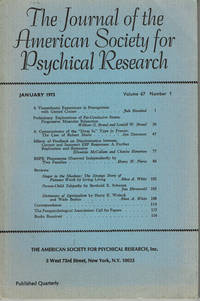 image of THE JOURNAL OF THE AMERICAN SOCIETY FOR PSYCHICAL RESEARCH. Volume 67, Number 1. January 1973.