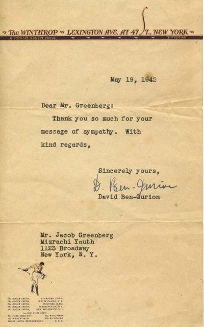 Ben Gurion Writes 4 Days After The...