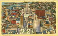 Aerial View of Down Town Buffalo, New York and Civic Center unused linen Postcard