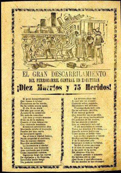 Mexico: A. V. Arroyo, 1904. Unbound. Very Good Condition. Broadside corrido detailing the train wrec...