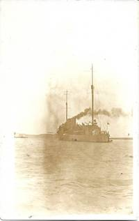 image of U.S. Battleship on Pre-1907 White Border Sepiatone Real Photo Postcard (RPPC)