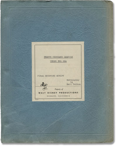 Burbank, CA: Walt Disney Productions, 1954. Final Shooting Script for the 1954 film, with blue, yell...