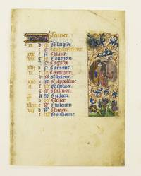 TEXT FOR THE MONTH OF FEBRUARY by  FROM AN ENGAGING LITTLE BOOK OF HOURS IN LATIN ILLUMINATED VELLUM MANUSCRIPT CALENDAR LEAF - ca. 1460s - from Phillip J. Pirages Fine Books and Medieval Manuscripts (SKU: ST12021aG)