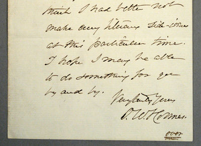 1882. HOLMES, Oliver Wendell, Sr. AUTOGRAPH LETTER, SIGNED. 17 lines, 1 1/2 pages, octavo. Written f...