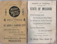 STATISTICS AND INFORMATION CONCERNING THE STATE OF MISSOURI AND ITS CHEAP FARMING LANDS, THE GRAZING AND DAIRY REGION, THE MINERAL AND TIMBER RESOURCES, THE UNSURPASSED FRUIT LANDS, AND LIMITLESS OPPORTUNITIES FOR LABOR AND CAPITAL.  With compliments of the General Passenger Department...