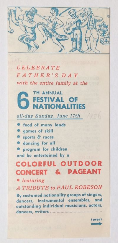 Los Angeles: , 1956. Four-panel brochure, light handling wear. Announcement for an event featuring e...
