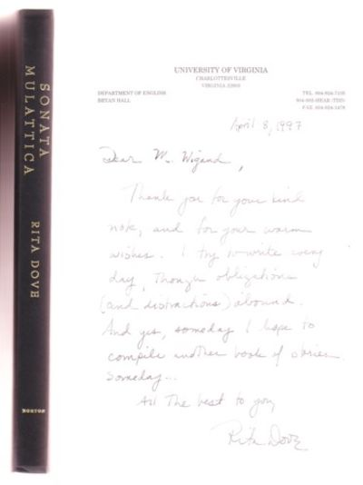 NY: W.W.Norton, 2009. First edition, first prnt. Signed by Dove on the title page. Additionally, a h...