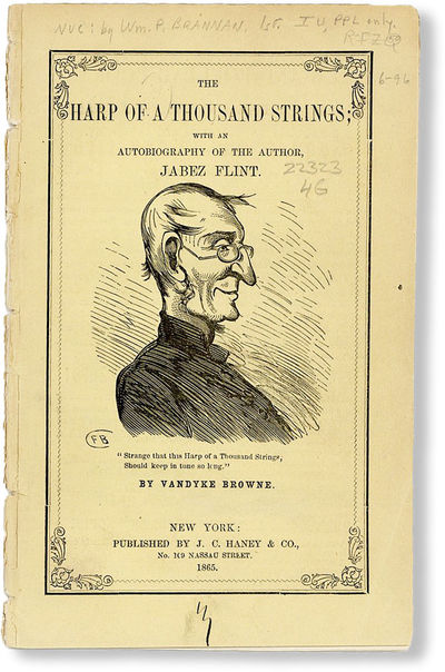 New York: John C. Haney & Co, 1865. Paperback. Uncommon edition of this mock sermon on the life of