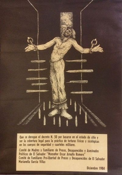 n.p.: the Committees, 1984. Approximately 17x24 inch poster depicting a shackled prisoner held stand...
