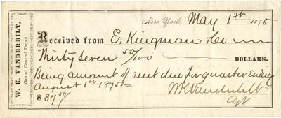 Abaa William K Vanderbilt Fills Out And Signs A Rent Receipt By
