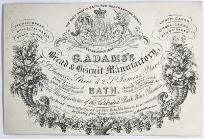 Bath, England, c. 1880's. Cards. White illustrated cards. Very good. Bath, known for the Bath Oliver...