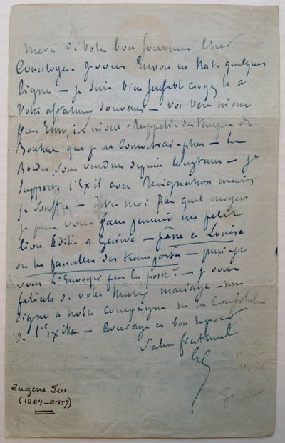 Spain, 1853. unbound. 1 page on gray paper, 8.5 x 5.25 inches, with a handwritten address on the bac...
