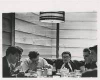image of Original photograph of James Dean and friends at Googie's Diner, 1955