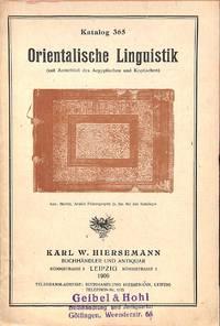 Catalogue 365/1909: Orientalische Linguistik (mit Aussluß des Aegyptischen  und Koptischen).