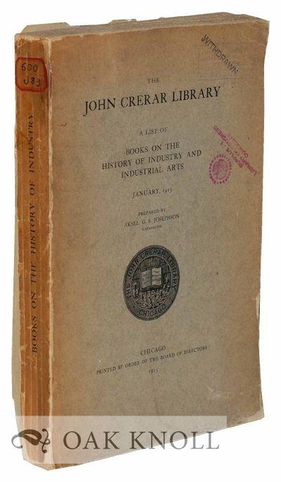 Chicago, IL: The John Crerar Library, 1915. stiff paper wrappers. small 4to. stiff paper wrappers. (...