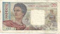 Tahiti 20 Franc Banknote / Currency (Pick # 21b) Papeete, French Polynesia (1954 Series) by Banque de L'Indochine - 1963 - 1963 - from Paper Time Machines (SKU: 4545)