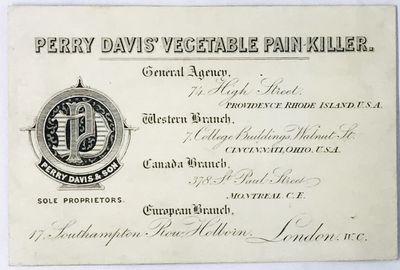 London: Perry Davis & Son, c. 1890. Cards. White printed cards. Near fine. 11.5 x 7.5 cm. British/Eu...
