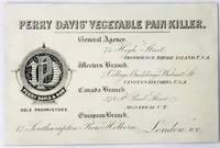 [QUACKERY] [TRADE CARD] PERRY DAVIS' VEGETABLE PAIN KILLER